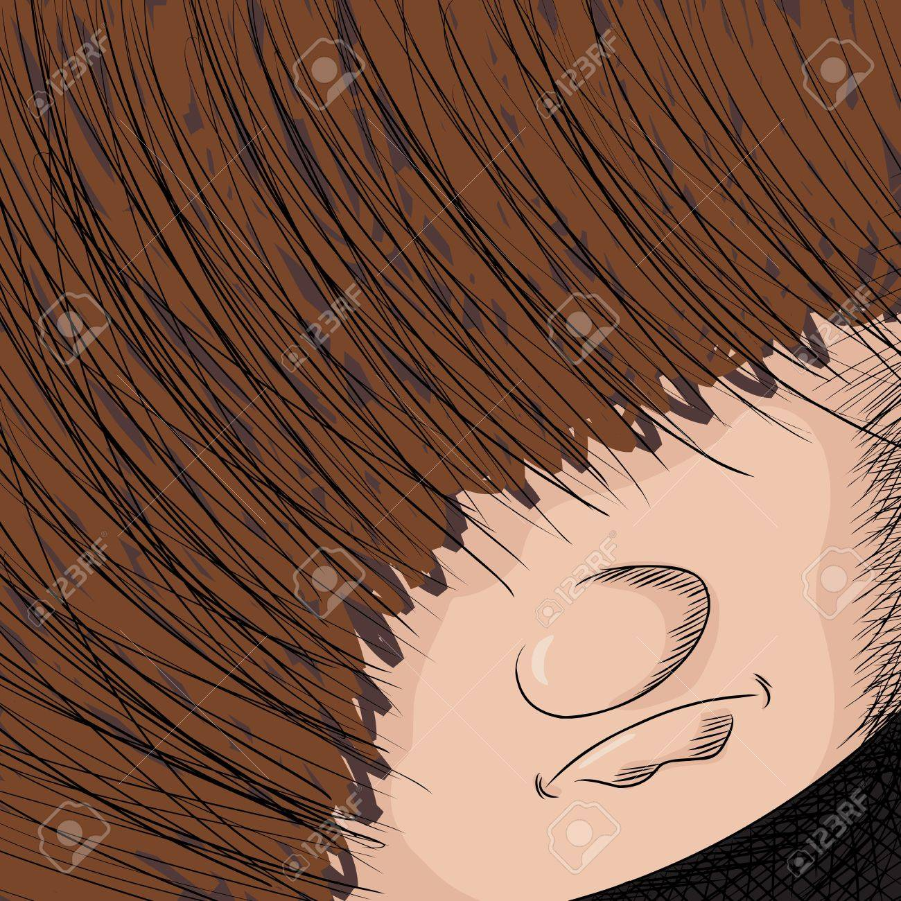 Close up cartoon of person with hair covering his eyes Stock Vector - 18409075