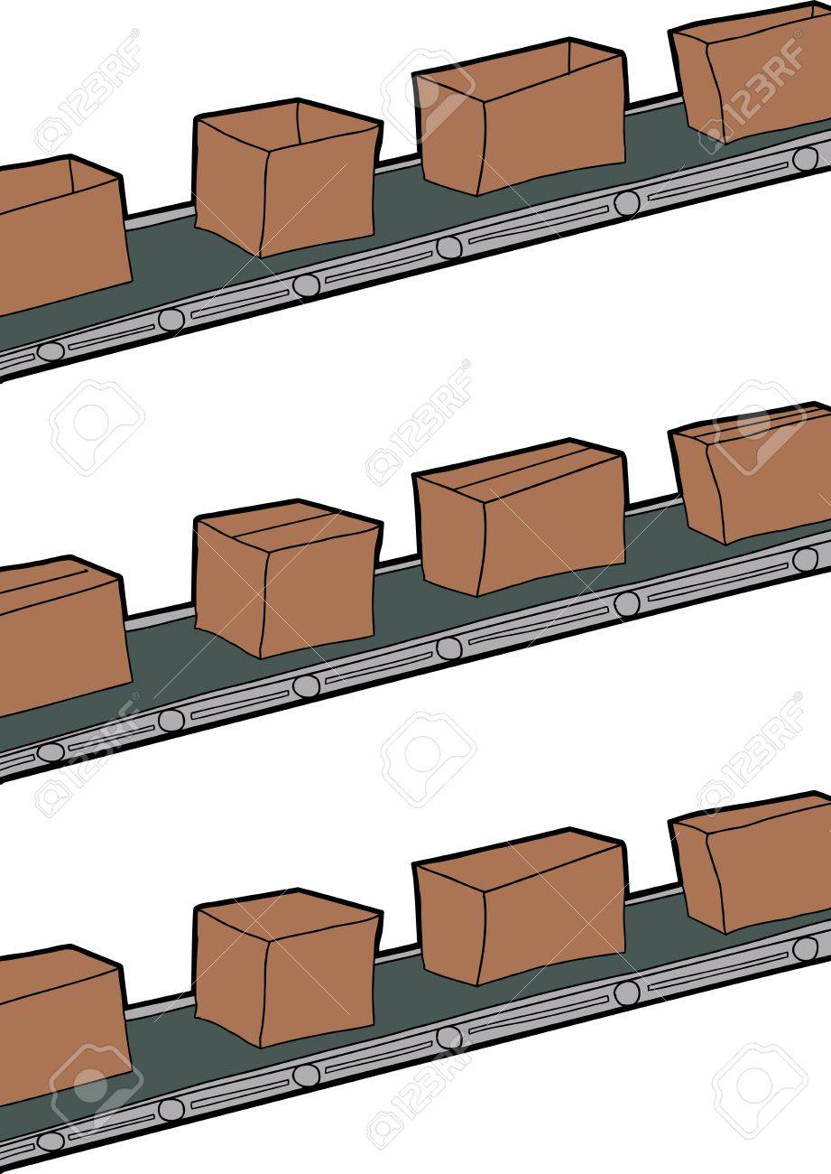 Cartoon of cardboard boxes on conveyer belts Stock Vector - 18518157
