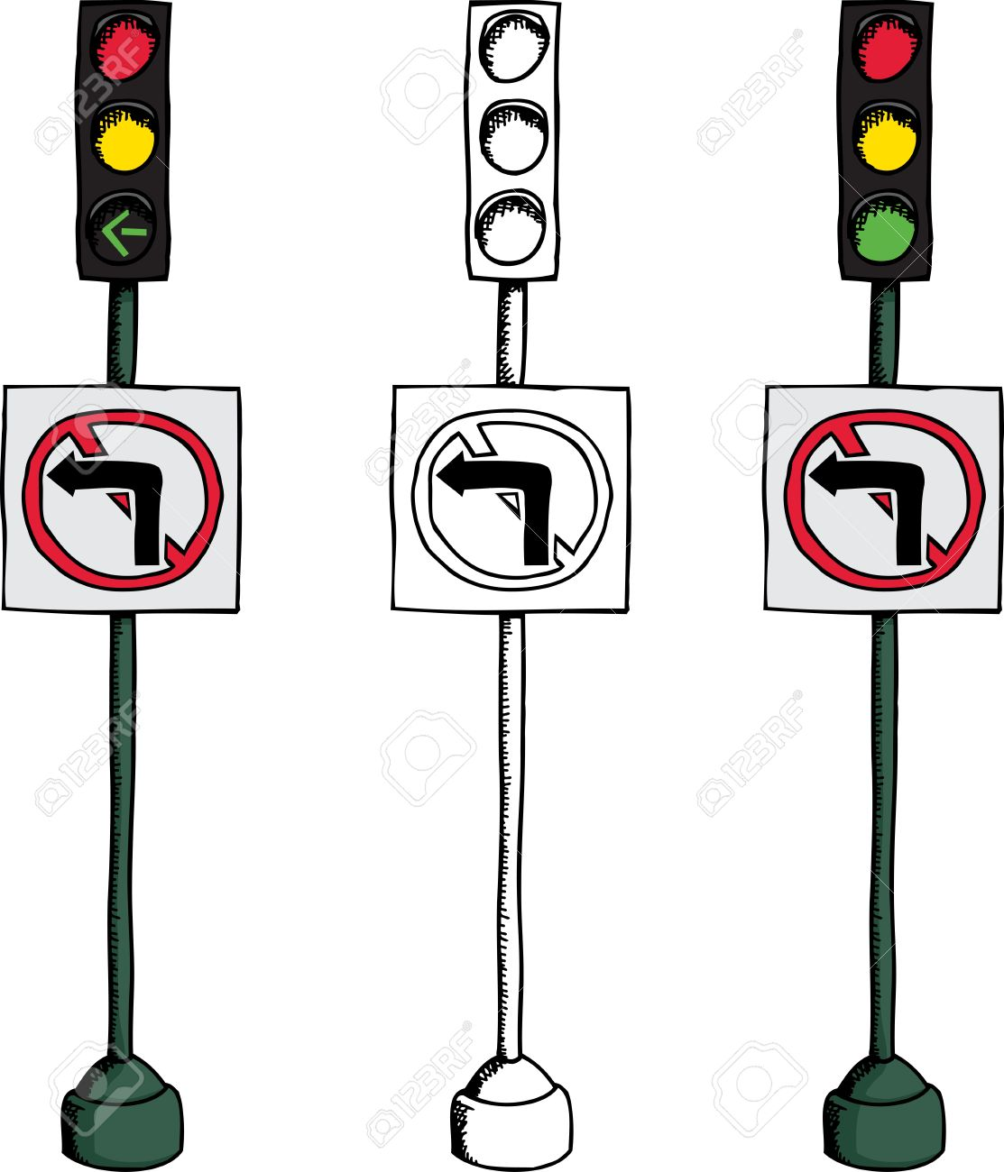 No Left Turn Traffic Light Over White Background Royalty Free ... for Traffic Light Sketch  59jwn