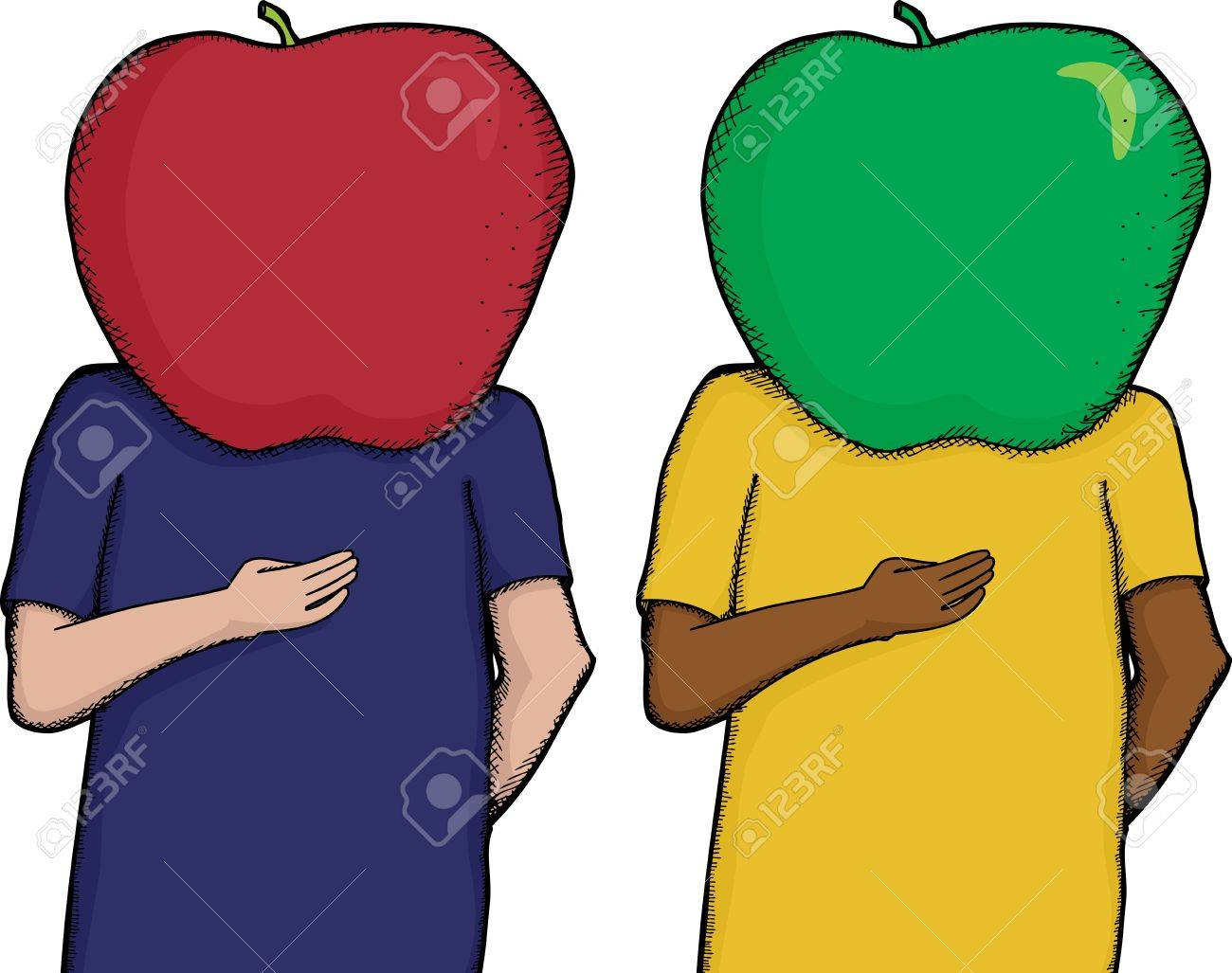 cartoon of person with apple on head royalty free cliparts