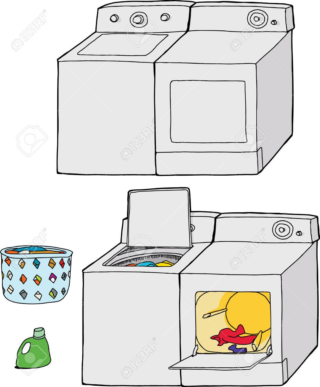 Washer And Dryer Clipart washing machine and dryer cartoons with soap and clothing royalty
