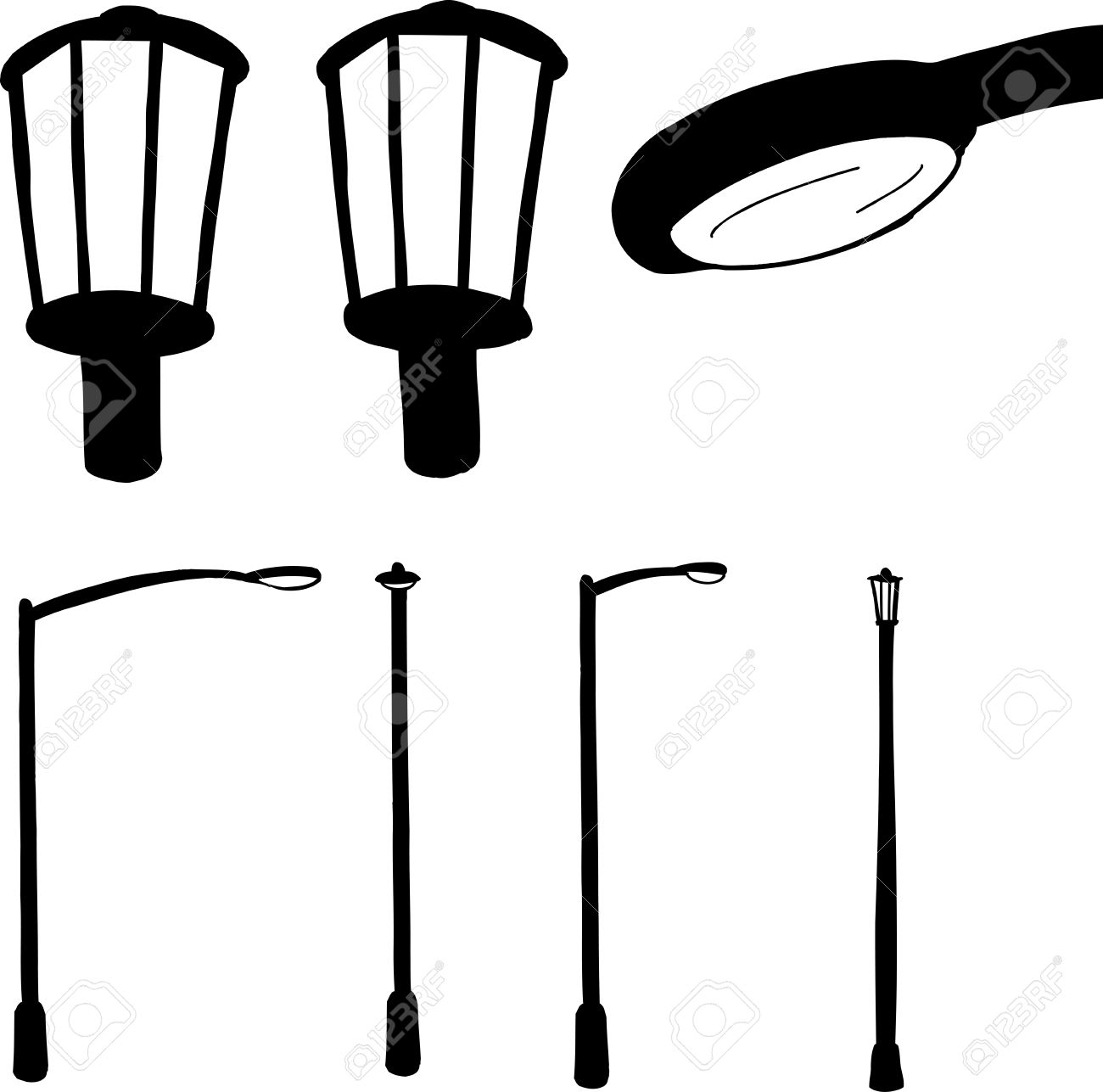 Group Of Modern And Antique Street Lamps In Silhouette Royalty ... for Modern Street Lamps  55nar