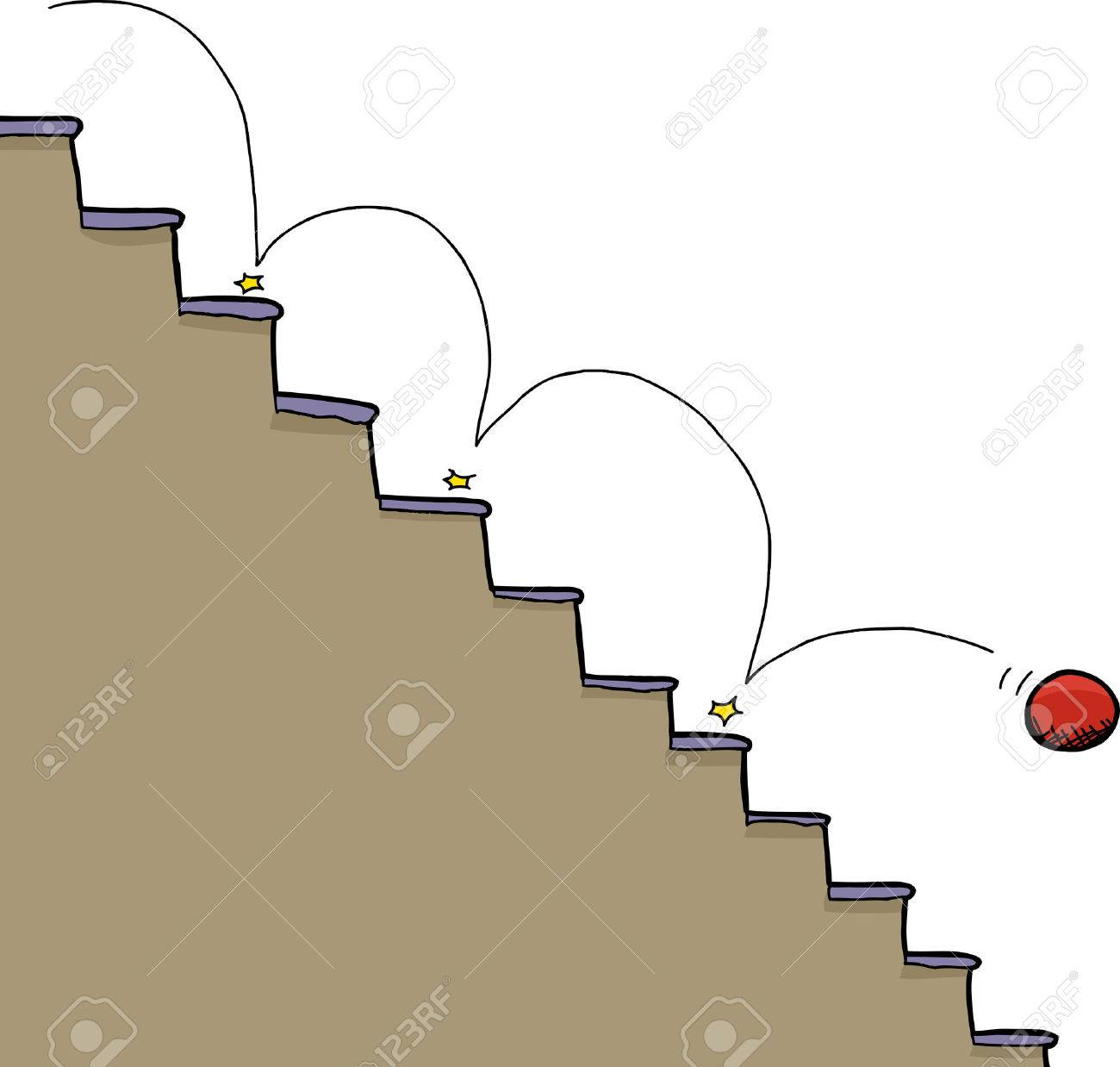 Bouncing Red Ball Falling Down Staircase Over White Background ...