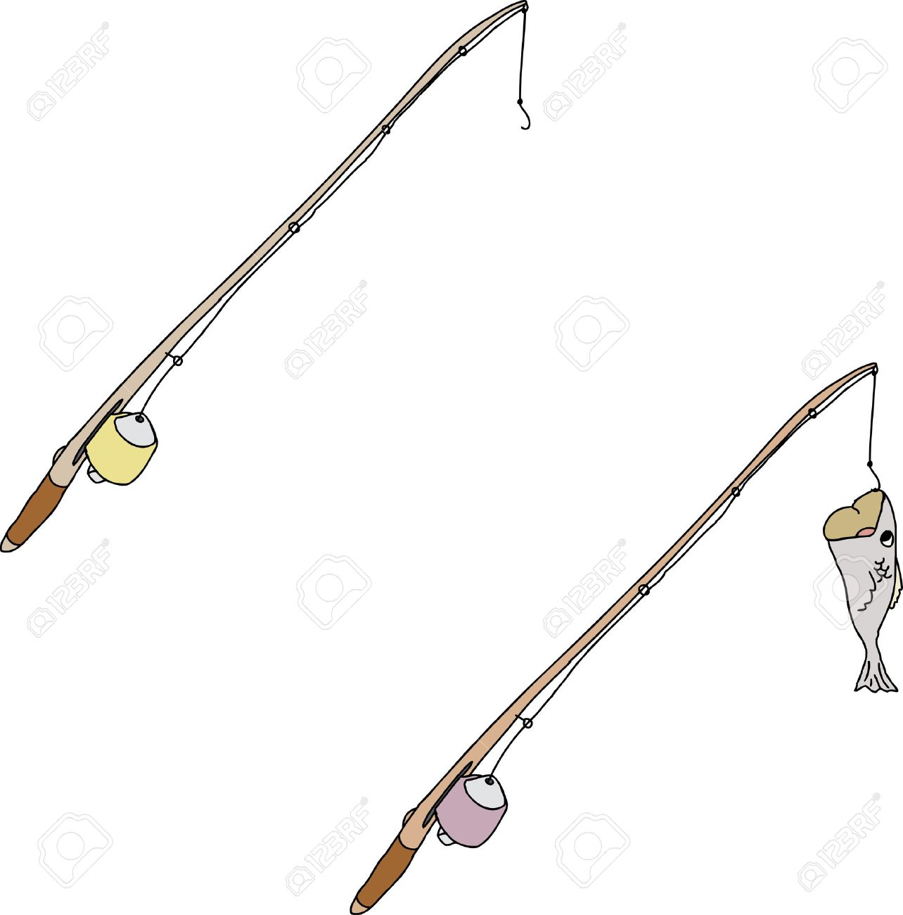 cartoon fishing pole with hook and fish royalty free cliparts rh 123rf com fishing pole cartoon pictures fishing rods cartoons