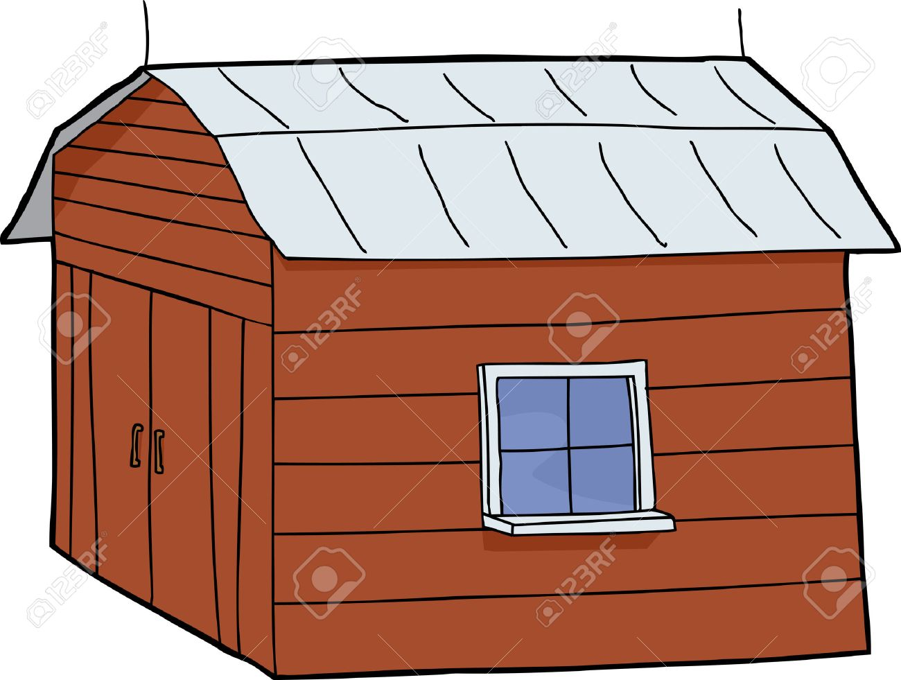 Cartoon Red Barn With Closed Doors And Tin Roof Stock Vector