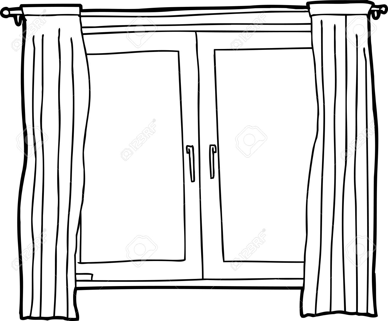 Black outline cartoon of casement windows with curtains royalty free black outline cartoon of casement windows with curtains stock vector 30168482 thecheapjerseys Gallery