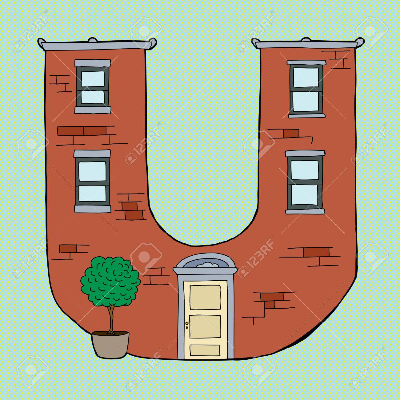 Brick Apartment Building In Shape Of Letter U Stock Vector   30822276