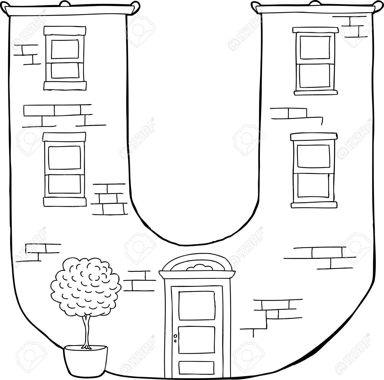 Outlined Brick Apartment Building In Shape Of Letter U Stock Vector    30822277