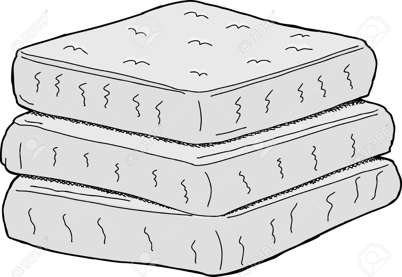 Isolated Stack Of Cartoon Mattresses On White Background Royalty