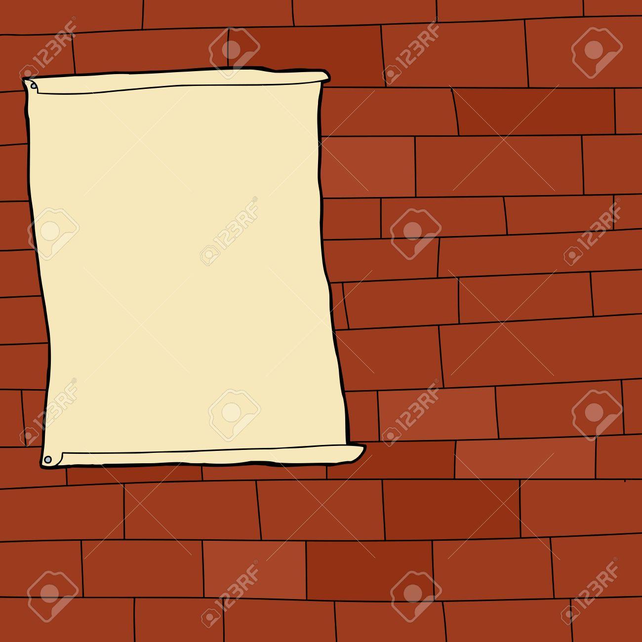Single Blank Poster On Cartoon Brick Wall Background Stock Vector