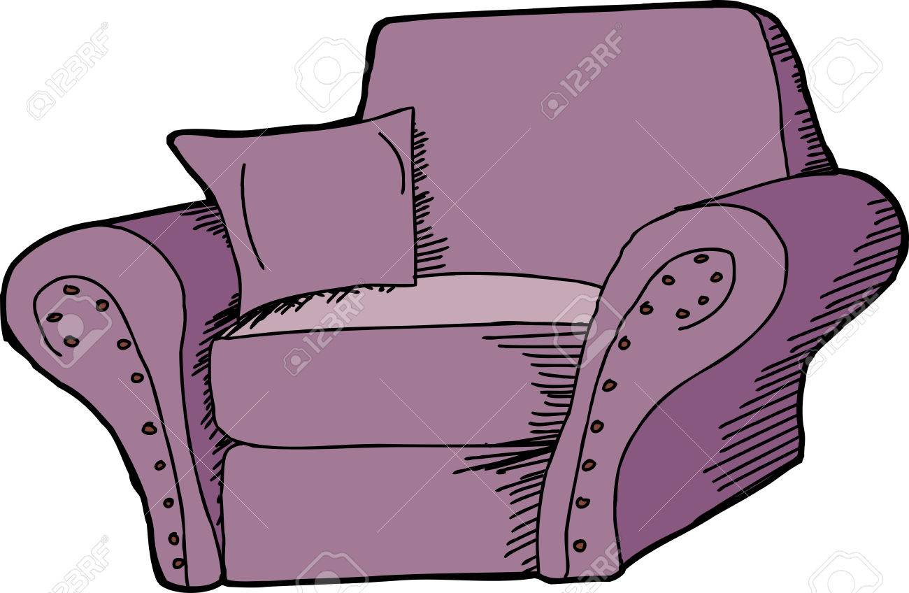 Delicieux Isolated Purple Armchair With Scrolled Design Cartoon Stock Vector    31385427