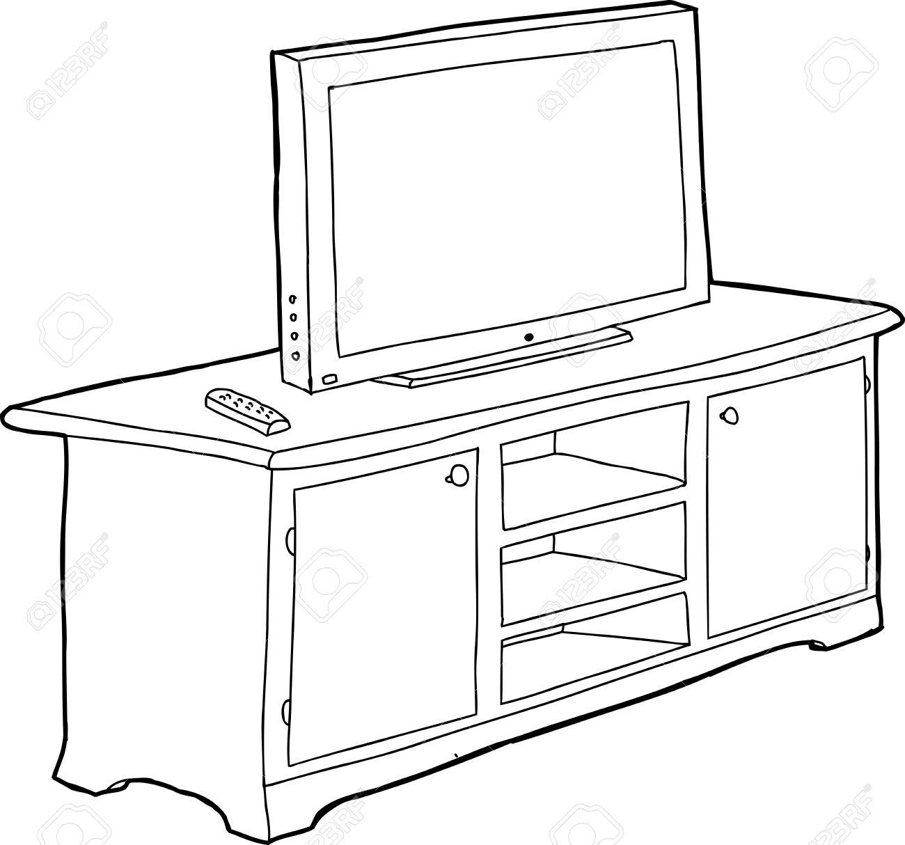 Armoire Dessin télévision dessin animé contour noir situé sur l'armoire clip art
