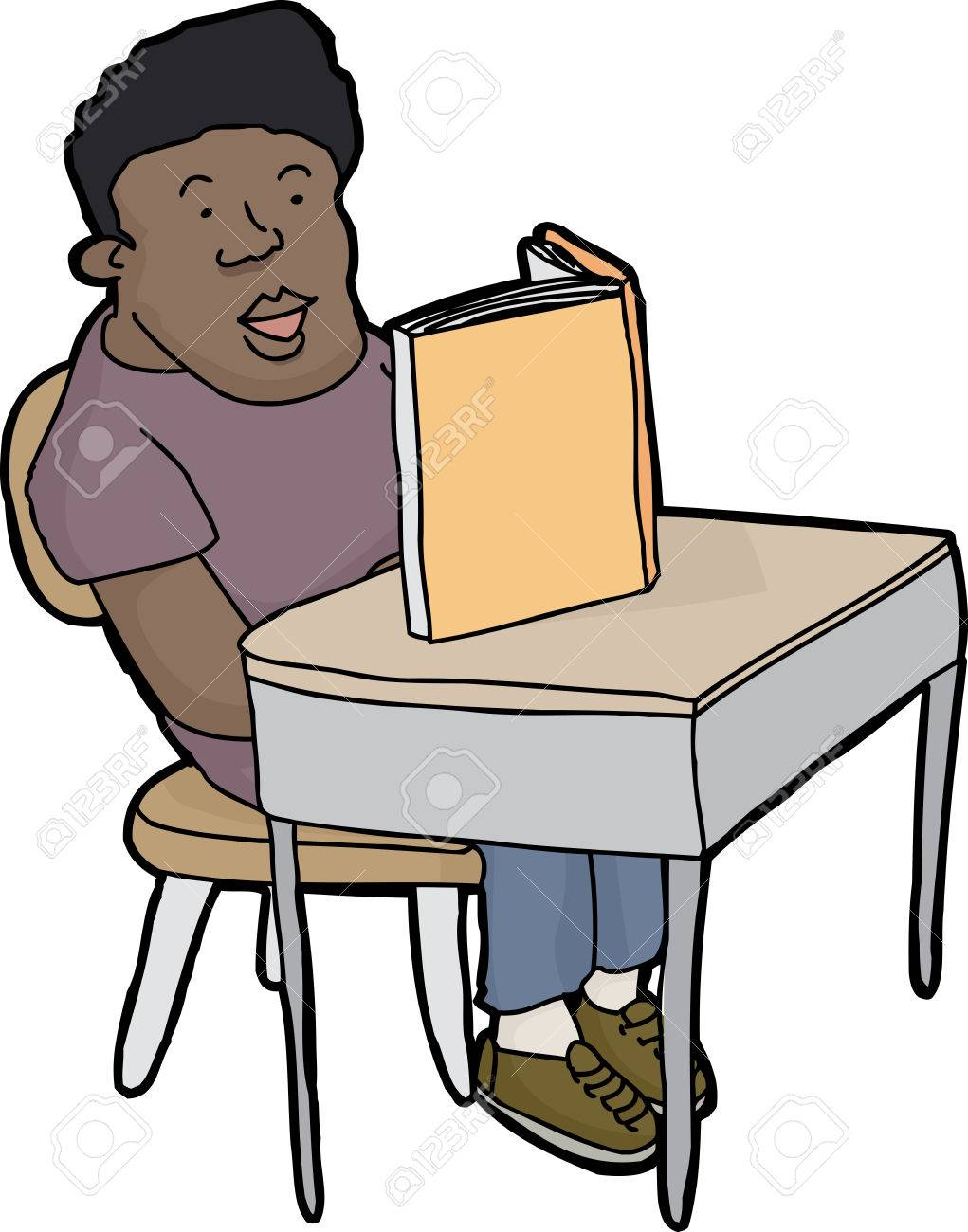 happy young male student reading book at desk royalty free cliparts rh 123rf com