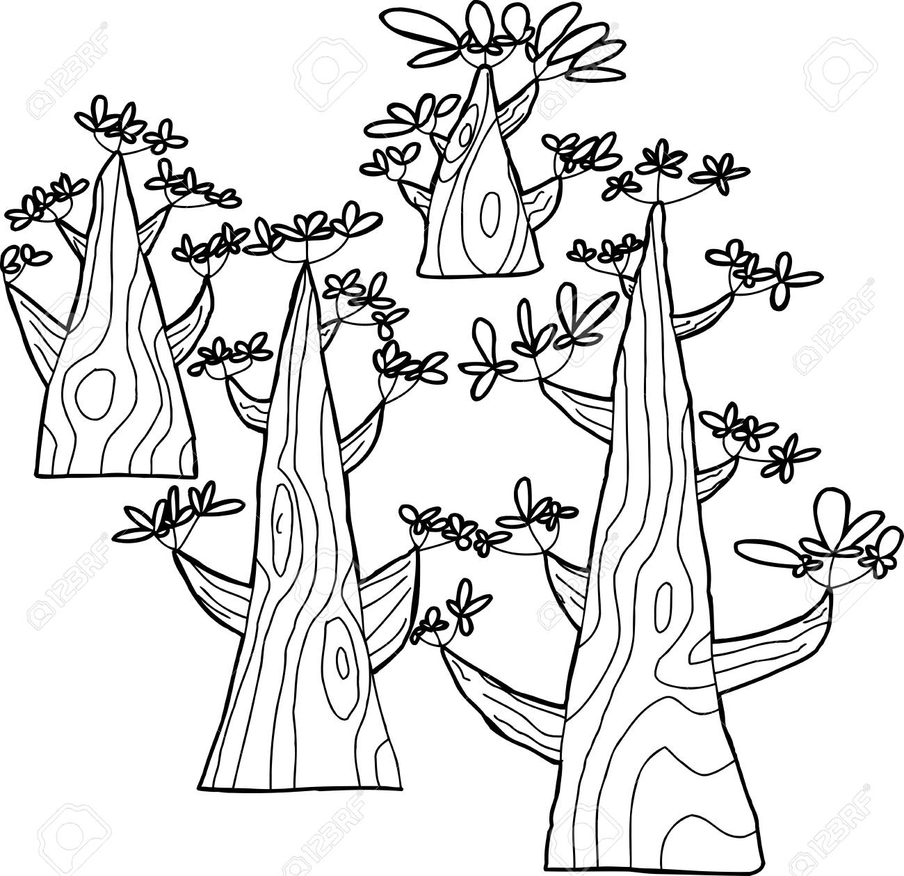 Set Of Four Outlined Spring Trees Over White Stock Vector   32698502