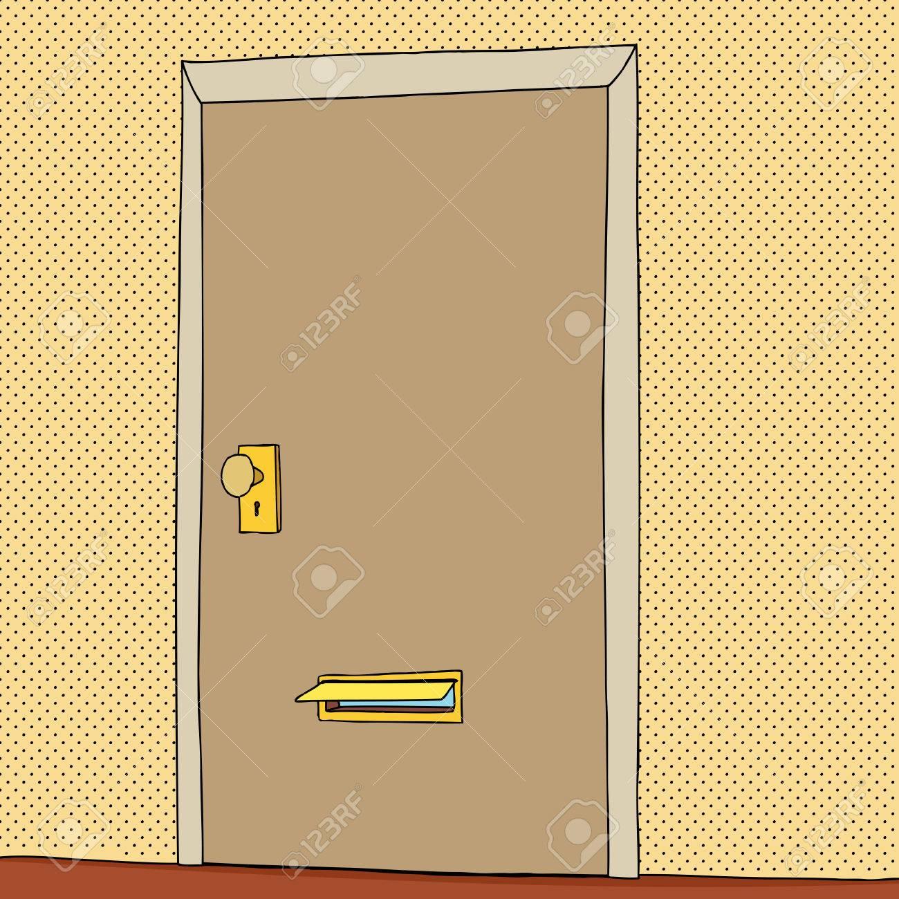 Cartoon Of Open Mail Slot In Closed Door Stock Vector   33573263