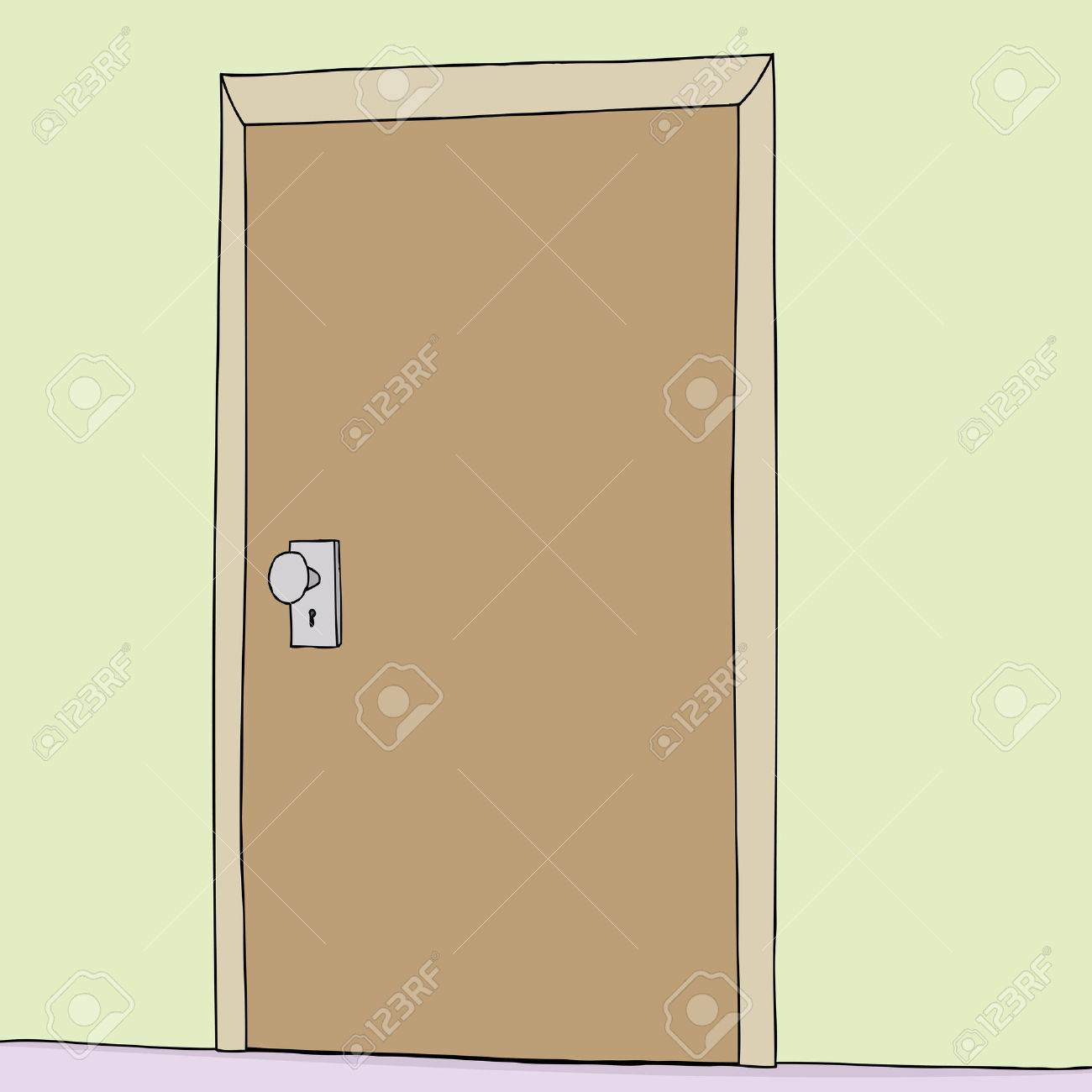 Single hand drawn shut door in green wall Stock Vector - 33573262 & Single Hand Drawn Shut Door In Green Wall Royalty Free Cliparts ...