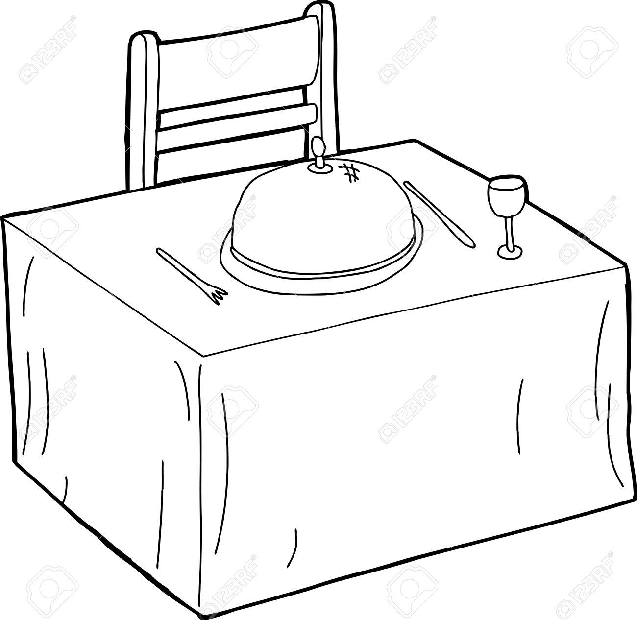 Stuhl gezeichnet  Hand Gezeichnete Umriss Karikatur Esstisch Mit Stuhl Lizenzfrei ...