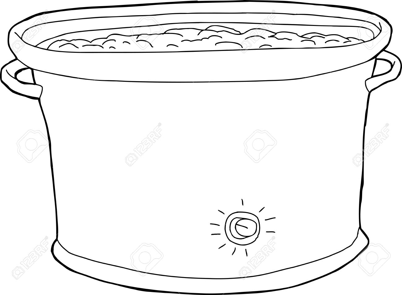 Outline Cartoon Of Crock Pot With Food Inside Royalty Free Cliparts Vectors And Stock Illustration Image 34317331