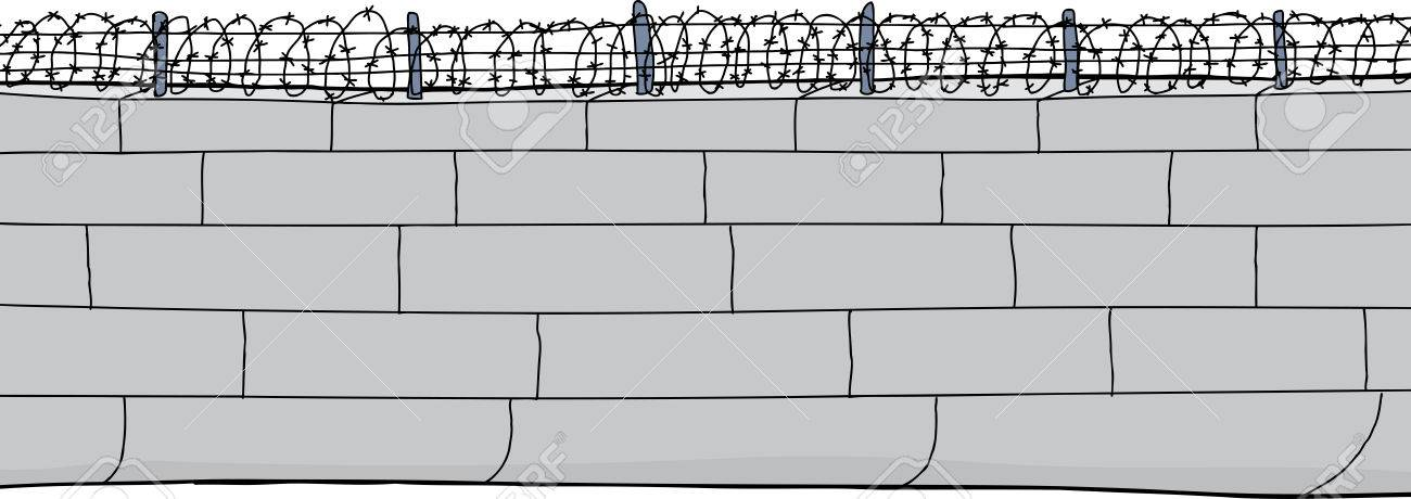 Isolated Cartoon Of Concrete Block Wall With Barbed Wire Royalty ...