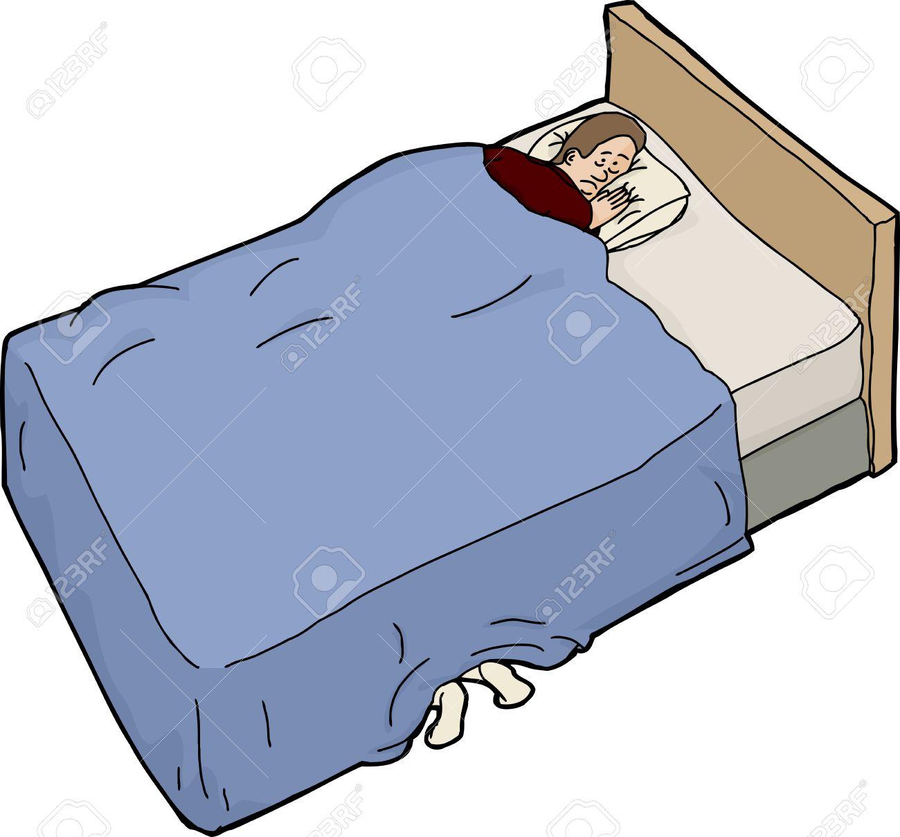Isoliert Cartoon Bett Mit Angst Mann Und Fusse Unter Lizenzfrei