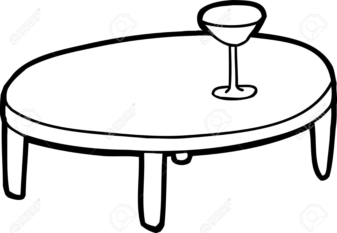outline cartoon of table with drink glass on top royalty free rh 123rf com tablet clip art free table clipart free