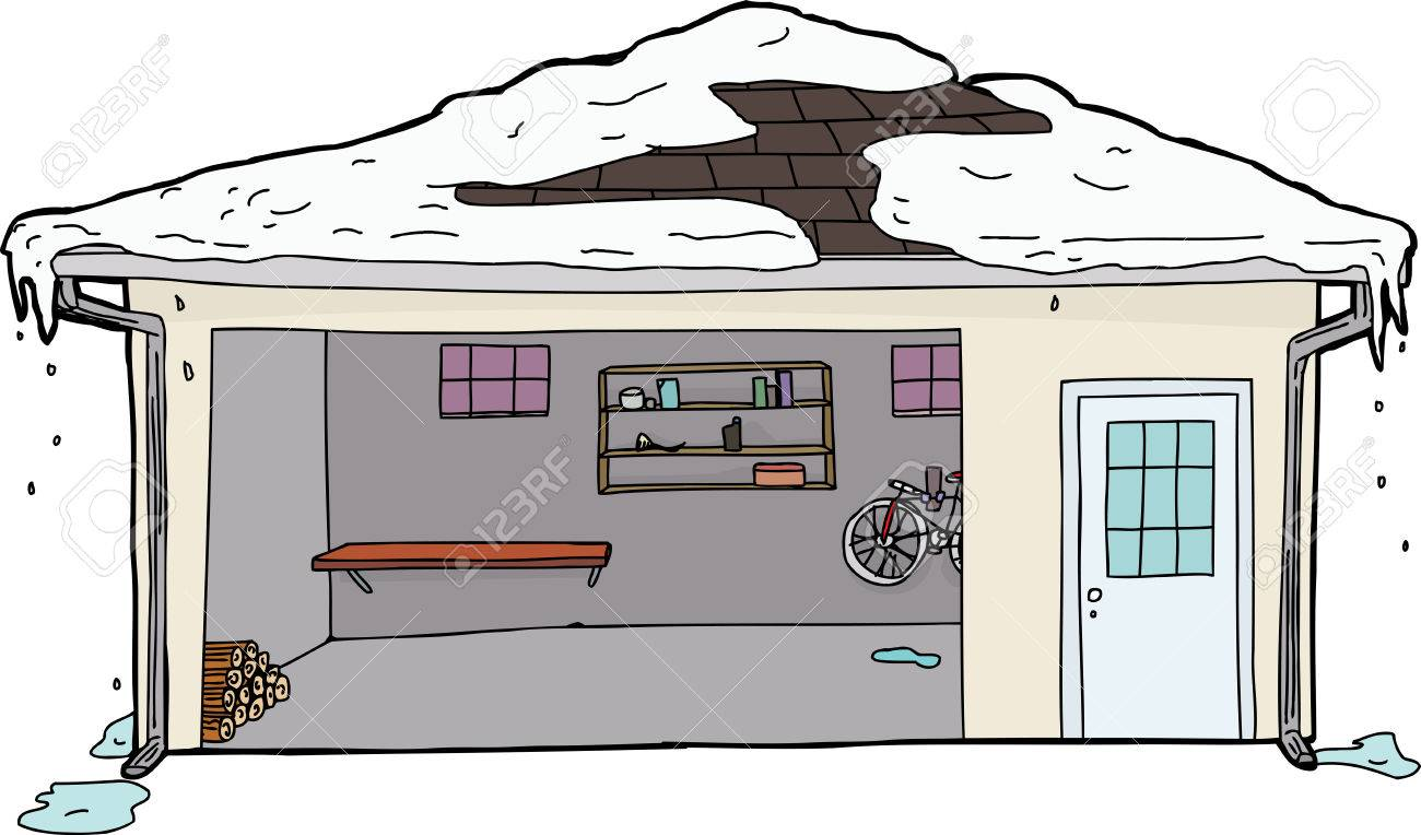 Open Garage Door With Log Pile And Melting Snow On Roof Royalty ...