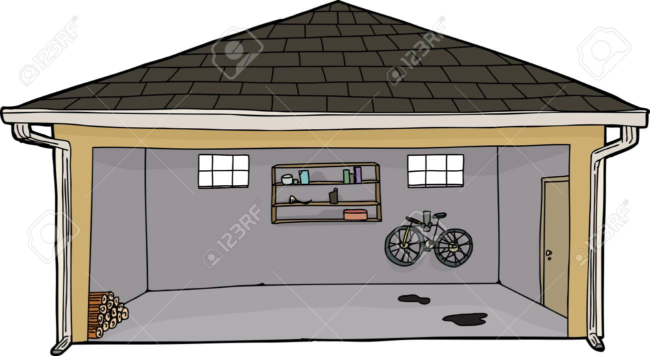 Great Hand Drawn Cartoon Open Garage With Log Pile Stock Vector   36830408
