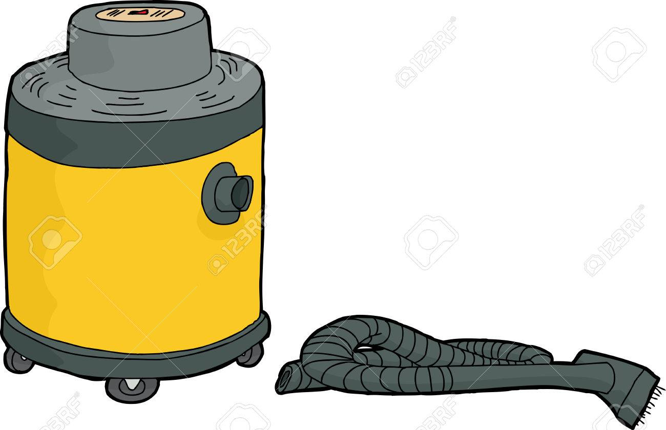 single yellow shop vac with disconnected hose royalty free cliparts