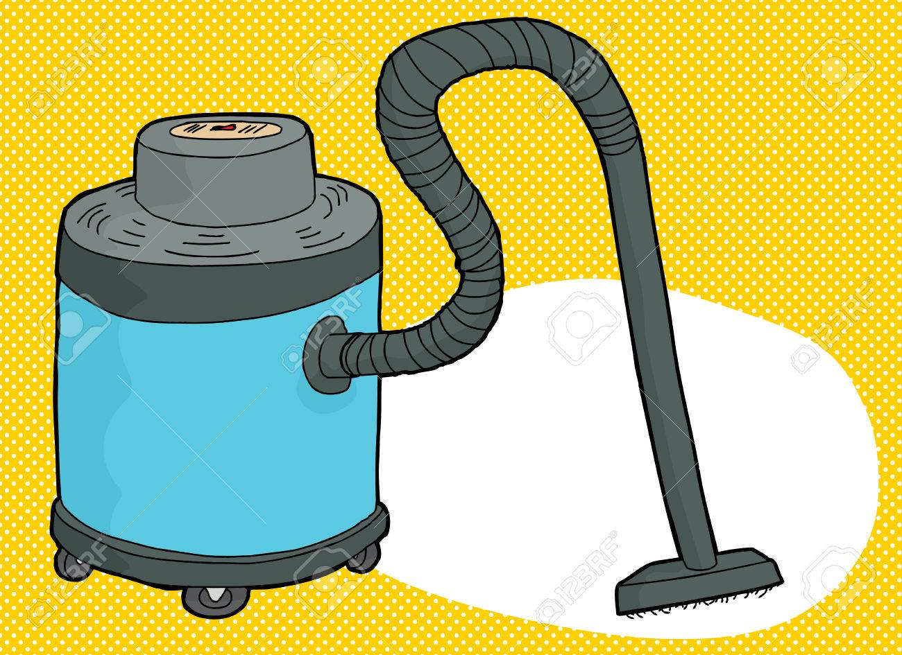 single blue cartoon large vacuum over yellow background royalty free rh 123rf com Hand Sweeper Dirt Devil Ultra Hand Vac