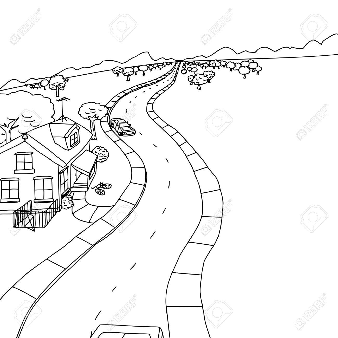 Dessin De Route décrivez le dessin de la maison avec des arbres le long de la route
