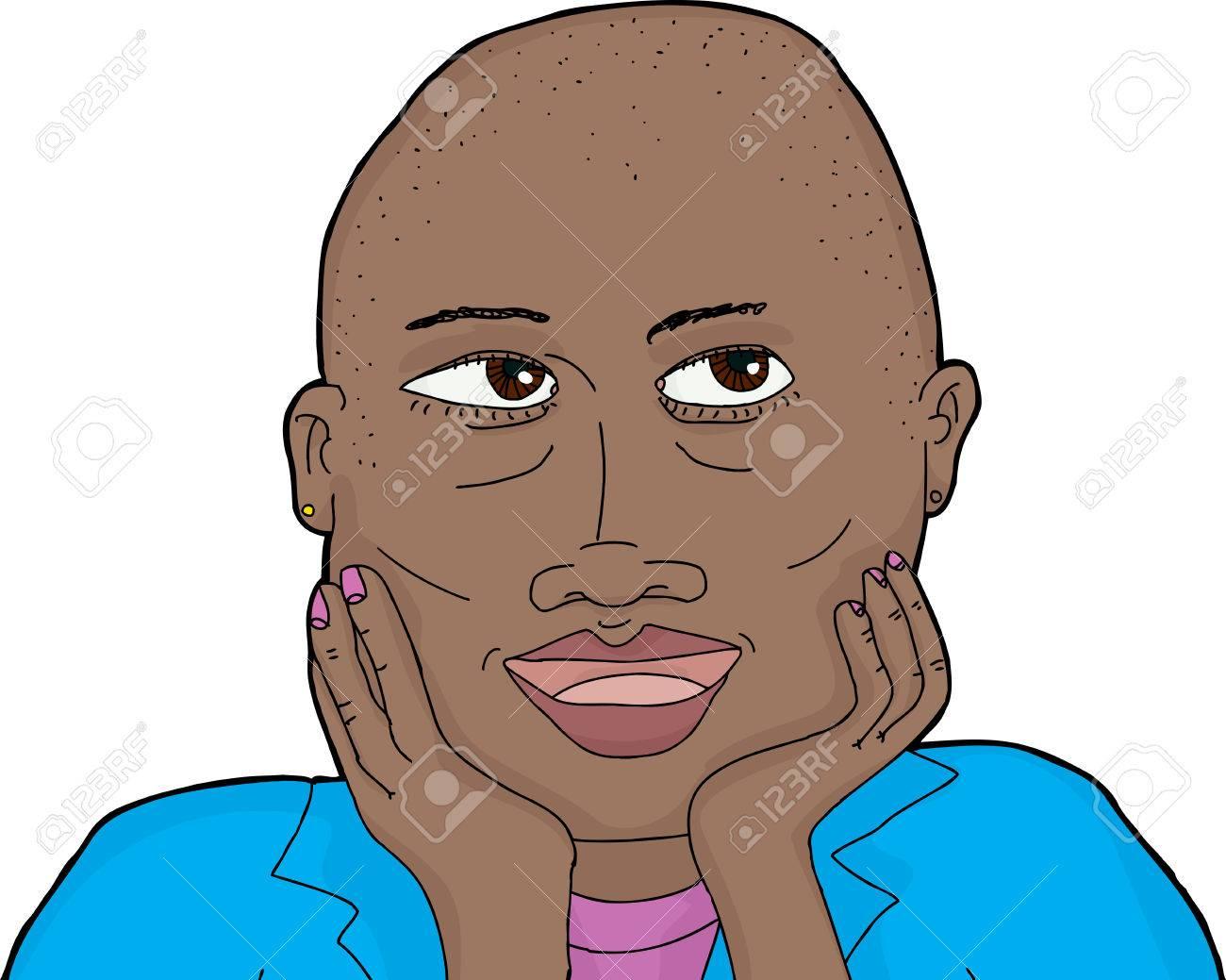 剃られた頭部およびあごに手を持つ女性のイラストのイラスト素材ベクタ