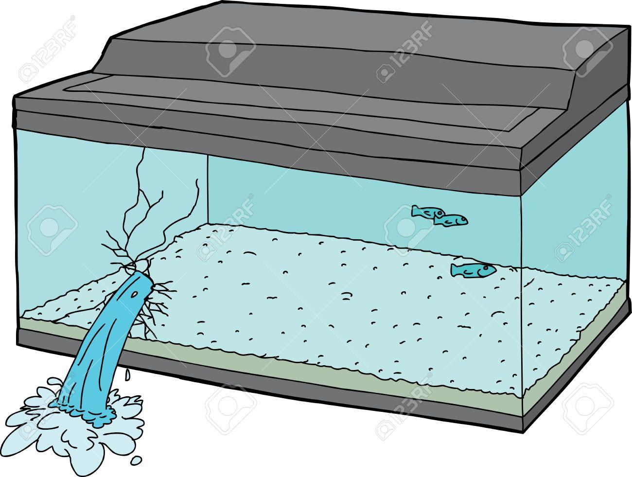Fish tank clipart - Single Hand Drawn Broken Fish Tank Over White Stock Vector 38824660
