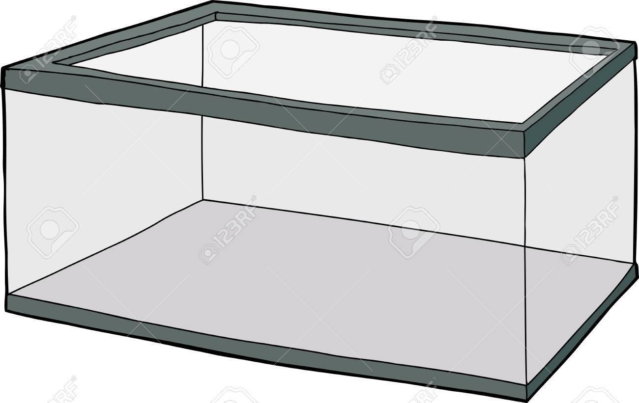 Single Hand Drawn Empty Fish Tank Cartoon Over White Royalty Free