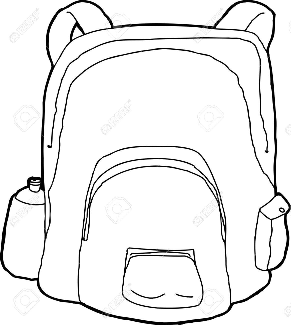 hand drawn cartoon of outlined backpack with water bottle royalty