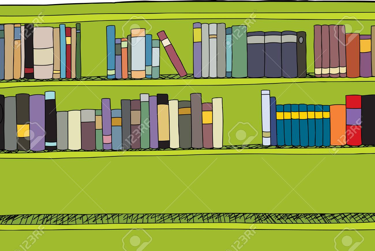 Green Bookshelf With Two Shelves Full Of Books Royalty Free Cliparts