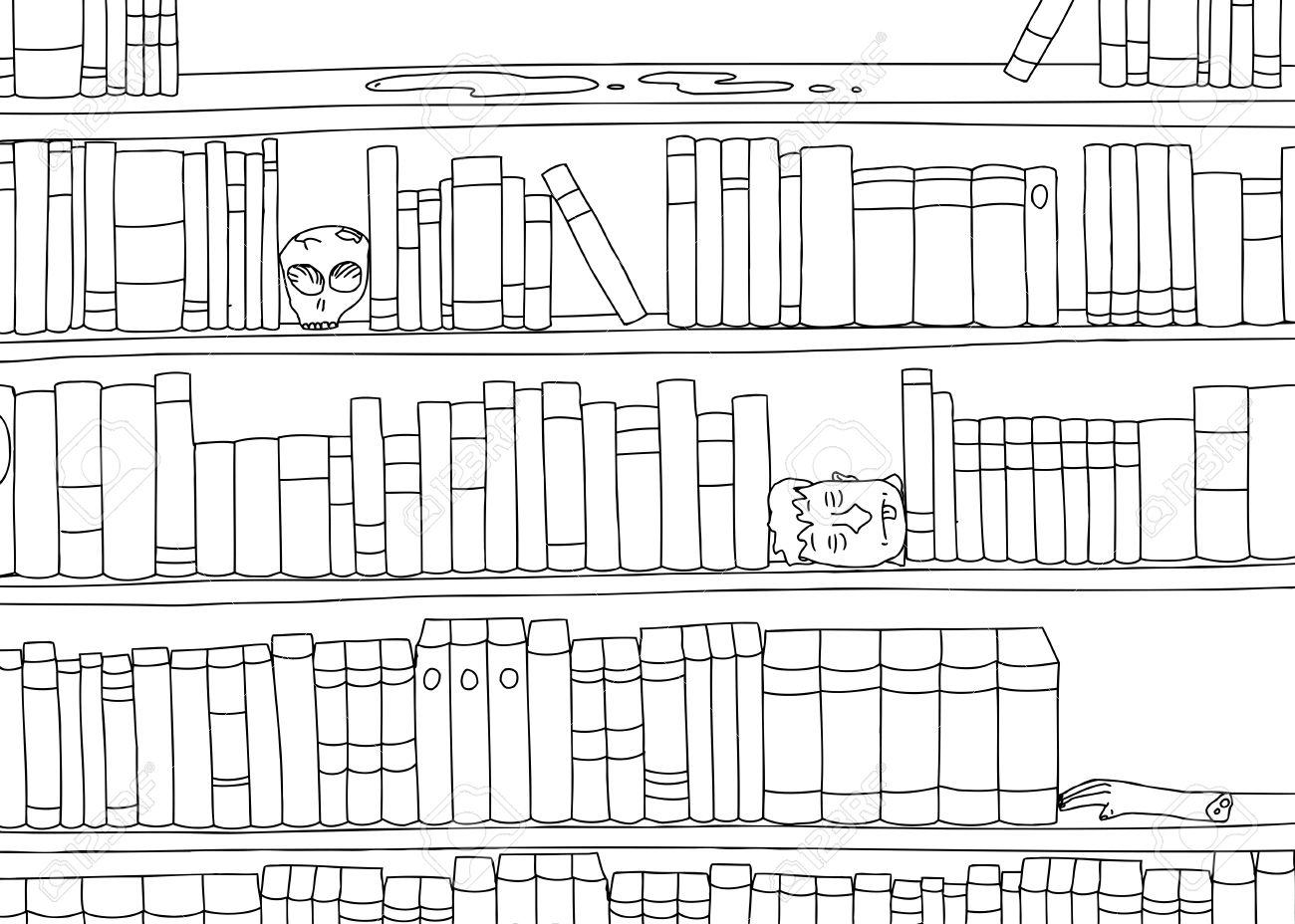 Bücherregal clipart schwarz weiß  Gliederung Cartoon Von Seltsamen Buchstützen In Bücherregal ...
