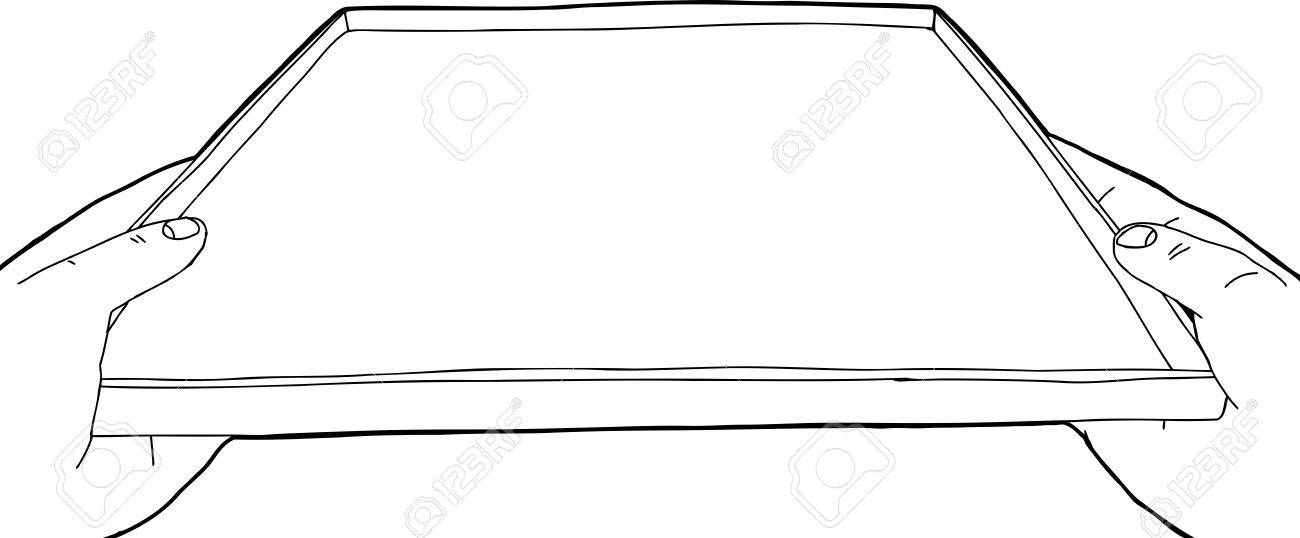Outline Of Hands Holding An Empty Serving Tray Royalty Free Cliparts