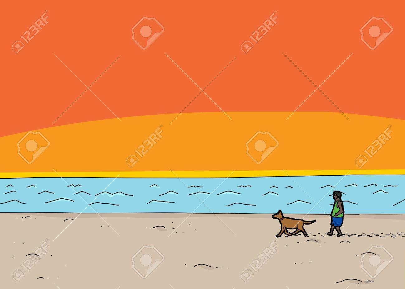 Cartoon scene of man walking dog on beach at sunset cartoon scene of man walking dog on beach at sunset 40993119 voltagebd Gallery