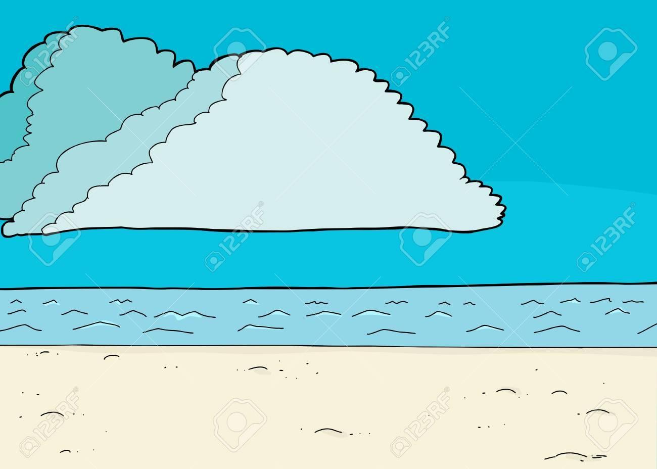 Cartoon ocean beach scene with cumulonimbus clouds in blue sky cartoon ocean beach scene with cumulonimbus clouds in blue sky 40992727 voltagebd Gallery