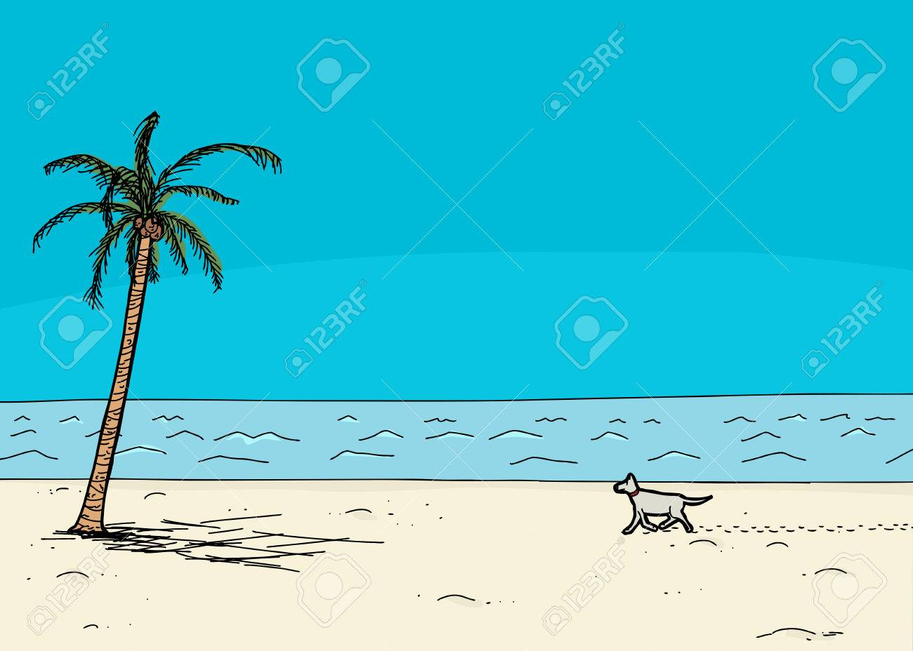 Dog walking on sand in tropical cartoon ocean beach scene dog walking on sand in tropical cartoon ocean beach scene 40992762 voltagebd Gallery
