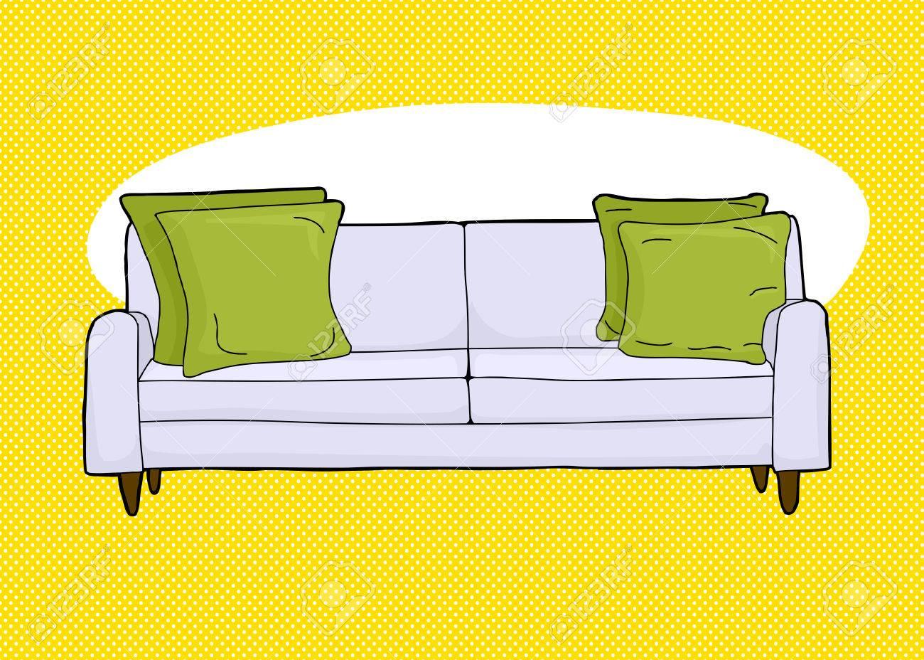 Cartoon Of Single Love Seat Sofa With Corner Cushions Stock Vector    40993284