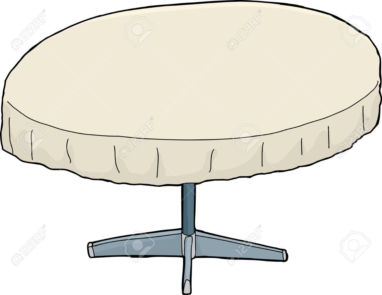Single Isolated Cartoon Round Table With Tablecloth Royalty Free - Round table clip art