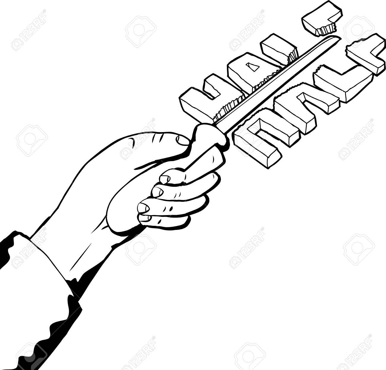 Outline illustration of hand cutting word in half with knife royalty outline illustration of hand cutting word in half with knife stock vector 42496510 voltagebd Image collections