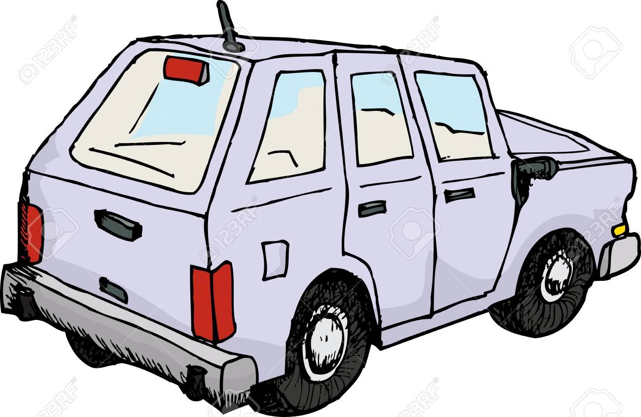 Rückansicht Des Skizzierten Automobil über Weißem Hintergrund ...
