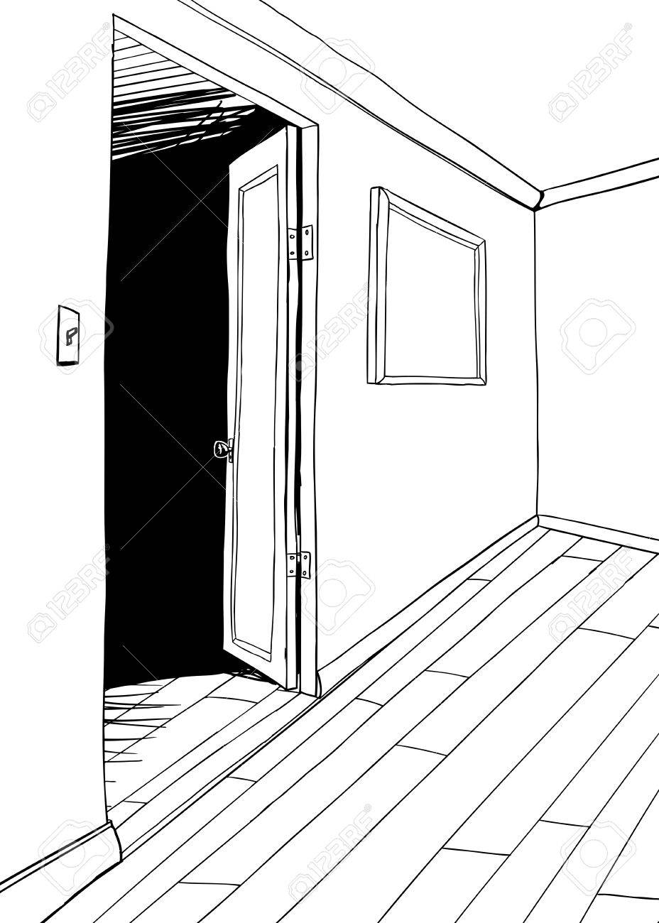 Berblick über Zimmer Mit Dunklen Tür Und Bilderrahmen Lizenzfrei ...