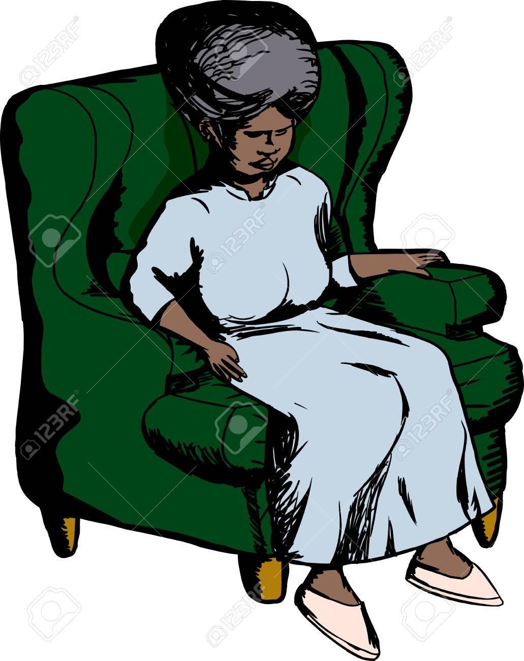 Single Elderly Woman Sitting In Green Sofa Chair