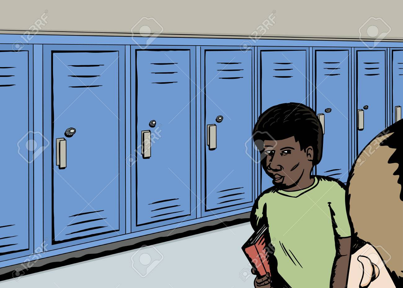 Cartoon Of Students In Hallway With Row Of Blue Lockers Royalty Free Cliparts Vectors And Stock Illustration Image 43674665