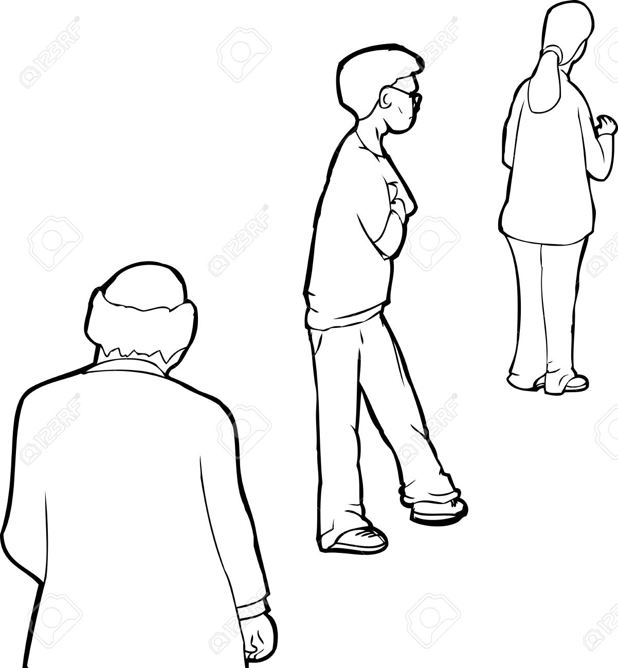 Black Cartoon People Outline Wiring Diagrams Transistorized Geiger Counter Circuit Diagram Tradeoficcom Of Three Waiting In Line Royalty Free Rh 123rf Com Drawings