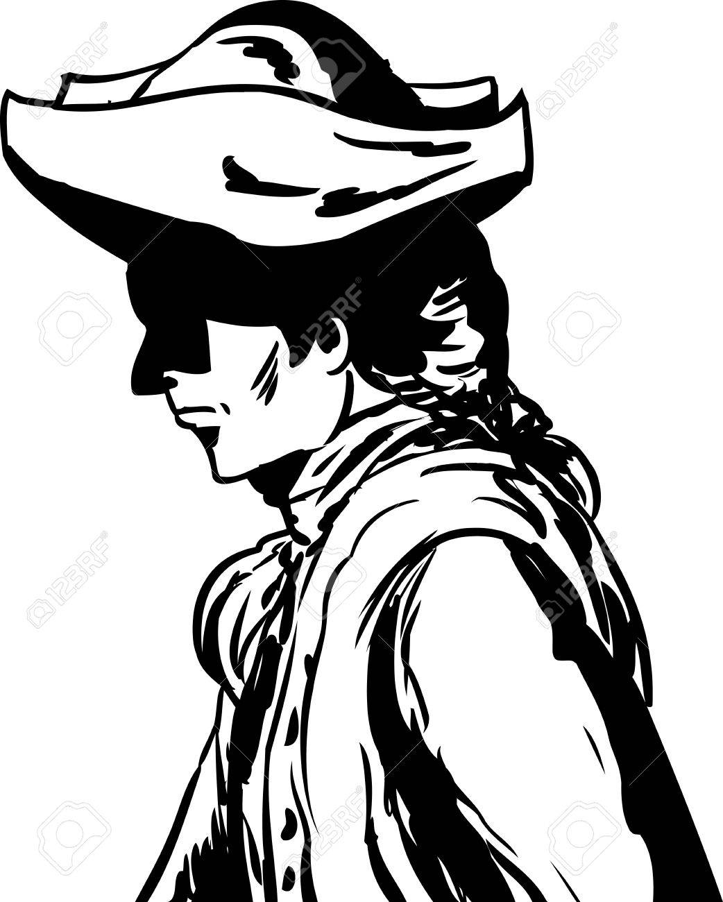 outlined side view of 18th century man in tricorn hat over white Christianity in the 18th Century outlined side view of 18th century man in tricorn hat over white stock vector 66439026