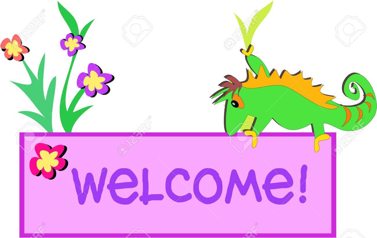 chameleon on welcome sign royalty free cliparts vectors and stock rh 123rf com clip art welcome home sign free clip art welcome sign